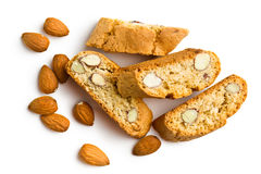 Cantuccini cookies and almonds Stock Images