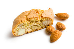 Cantuccini cookies and almonds Royalty Free Stock Photos
