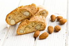 Cantuccini cookies and almonds Stock Photos