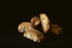Cantuccini cookies on black background Stock Photos