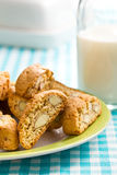 Cantuccini cookies on checkered tablecloth. The cantuccini cookies on checkered tablecloth Royalty Free Stock Photo