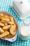 Cantuccini cookies on kitchen table Stock Photo