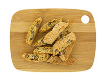 Cantuccini On Cutting Board Top View Stock Photos