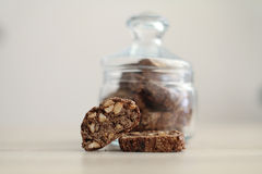 Cantuccini in a glass jar Royalty Free Stock Photos