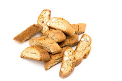 Cantuccini italian biscotti biscuits Isolated object on white. Multiple cantuccini italian biscotti biscuits Isolated object on white Royalty Free Stock Images