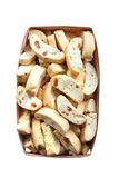 Cantuccini with peanuts, dried apricots and raisins in a basket Royalty Free Stock Image