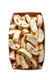Cantuccini with peanuts, dried apricots and raisins in a basket Royalty Free Stock Images