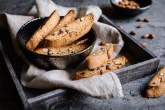 Cantuccini - tradycyjni Włoscy migdałowi ciastka zdjęcia stock