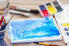 Canva with frame of paints and brushes Stock Photography