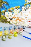 Canvas art painting paint artist hobby colors colorful. Coloring brush numbers Royalty Free Stock Photography