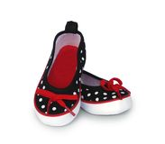 Canvas baby girl polka dot shoes royalty free stock photos