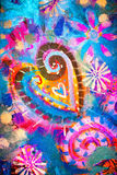 Canvas background. Abstract colorful background with heart shape painted on canvas Stock Photo
