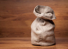Canvas bag with coffee beans Stock Photos