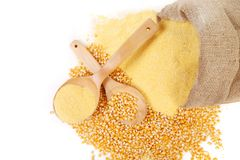 Canvas bag with cornmeal. Stock Images