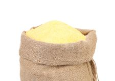 Canvas bag with cornmeal. Royalty Free Stock Images