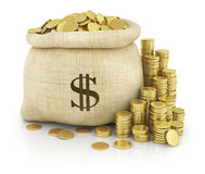Canvas bag filled with coins Royalty Free Stock Photos