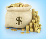 Canvas bag filled with coins Stock Photos