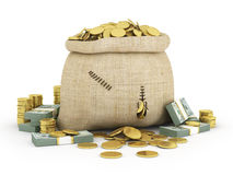 Canvas bag filled with coins. A white background. Stock Photo