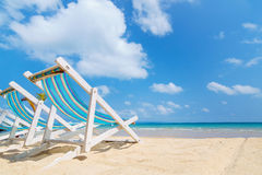 Canvas beach bed on the beach. With nice sky and cloud Royalty Free Stock Image