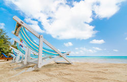 Canvas beach bed on the beach. With nice sky and cloud Royalty Free Stock Images