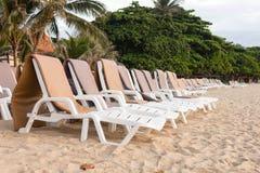 Canvas beach bed on the beach Stock Photos