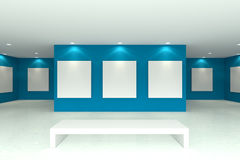 Canvas on blue wall in the gallery Stock Photography