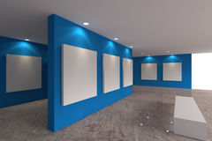 Canvas on blue wall in the gallery Royalty Free Stock Image