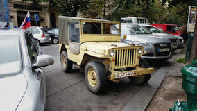 Canvas body top Willys CJ-2A in Prague Royalty Free Stock Image