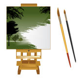 Canvas with brushes Royalty Free Stock Photography