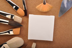 Canvas and brushes Royalty Free Stock Image