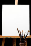Canvas,brushes And Easel Royalty Free Stock Images