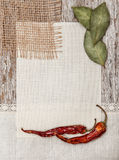 Canvas, burlap, spices and linen fabric on the old wood Stock Image