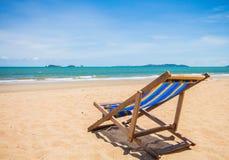 Canvas chair on beach Stock Photo