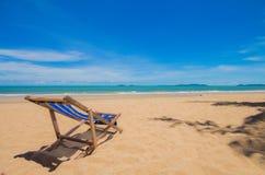 Canvas chair on beach Stock Photography