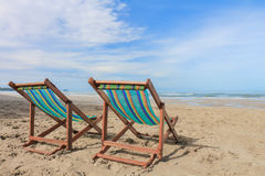 Canvas chair on beach Royalty Free Stock Photo