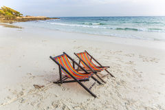 Canvas chair at the beach Royalty Free Stock Image