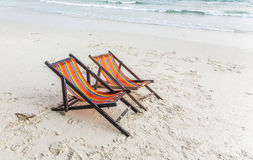 Canvas chair at the beach Stock Photography