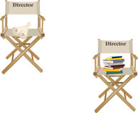 Canvas chair with writing director. Canvas chair with counters and registers Royalty Free Stock Photo