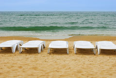 Canvas chairs. At a beautiful beach Black Sea Royalty Free Stock Photos
