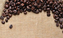 Canvas and coffee beans  background Stock Photography