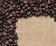 Canvas and coffee beans  photo Stock Photos