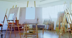 Canvas in drawing class 4k. Canvas in empty drawing class 4k stock video