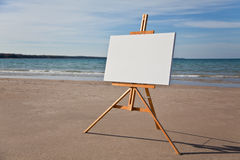 Canvas and easel on Beach Horizontal royalty free stock images