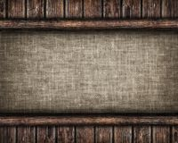Canvas framed by old wooden planks. Canvas framed by old wooden  planks Royalty Free Stock Photography