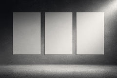 Canvas frames on cement grunge wall background. Art gallery room. Blank picture canvas frames on grunge wall background. Concrete floor with reflection. 3d Stock Photo