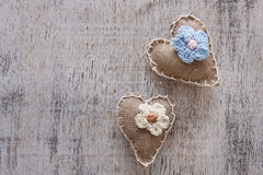 Canvas handmade heart Stock Photo