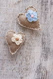 Canvas handmade heart Royalty Free Stock Image