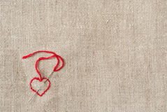 Canvas with heart in left down corner Stock Images
