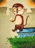 Canvas het Schilderen van een aap Royalty-vrije Stock Afbeeldingen