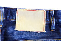 Canvas label jeans. Blank canvas label back view of jeans isolated on white background Stock Photography